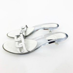 Ozone Lucite Kitten Heels Mules White Sandals